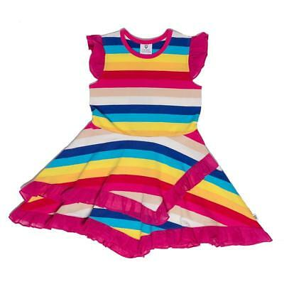 Girls Dorothy Frill Hem Dress Rainbow Stripe Hootkid Size 4 New