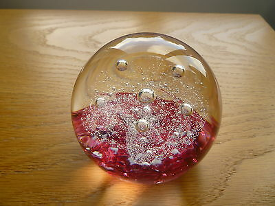 Selkirk Glass Paperweight Raspberry Red, Hand Made in Scotland