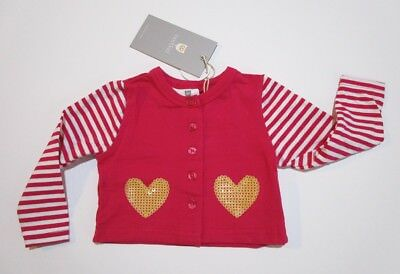 Baby Girls So Sweet Cardigan Hot Pink Hootkid  Size 0-3 months New