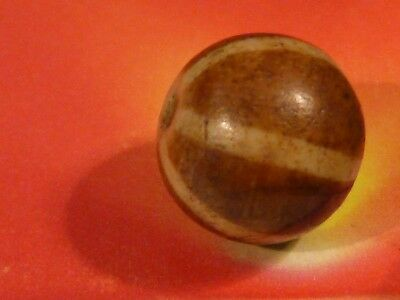 ANTIQUE OLDER PUMTEK BEAD'' SIX STRIPE ''PATTERN GREAT PATINA 13.1 MM pumtekman