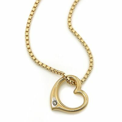 Jewelry Set 585 Gold Venetian Chain + Heart Pendant Diamond NEW (17913 /