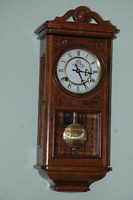 Antique Style Oak Case Wall Clock,mechanical Movement,with Key.excellent.
