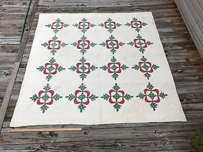 Antique Applique Quilt Oak Leaves Huge! 1860's Red Green and White Fine Quilting
