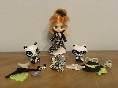 Littlest Pet Shop #2251 and #2329 Panda and #B33 Blythe Doll Get Pretty Boutique