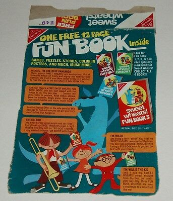 1970's Nabisco Sweet Wheats Cereal Box Back with Fun Book offer