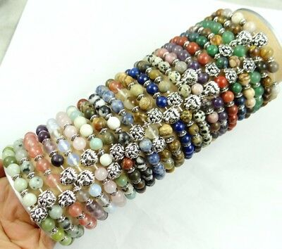 Natural agate Gem 8MM Mix Round Charms Beads Bracelets Silver Lions head