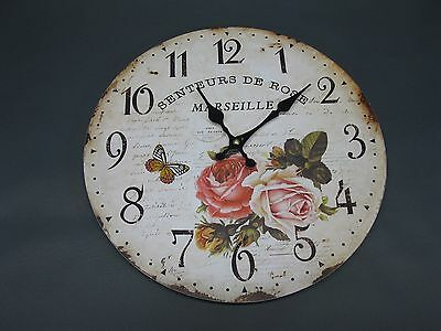 Large Wall Clock 34 cm Nostalgic Clock Antique Style Roses Country House Style