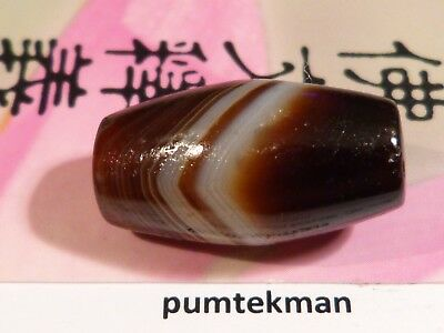 ANCIENT INDO-TIBETAN CHUNG DZI AGATE BANDED TUBE BEAD SUPERB 23 BY13MM pumtekman