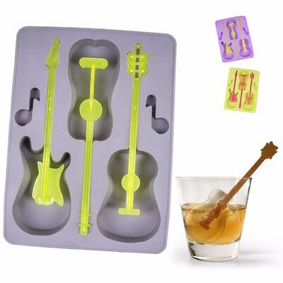 SILICONE GUITAR ICE CUBE TRAY Novelty Flexible Mould/Mold Music Mens/Ladies Gift