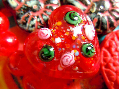 "Edel verzierte ""Wedding Cake""  Rubino Red Murano-Lampwork-Herz -18mm-"