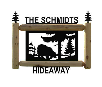 Hanging Address Bear Sign - Hunting - Clingermans Log Outdoor Signs