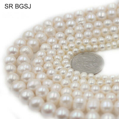 """4-11mm Natural Nearly Round White Freshwater Pearl Jewelry DIY Beads Strand 15"""""""
