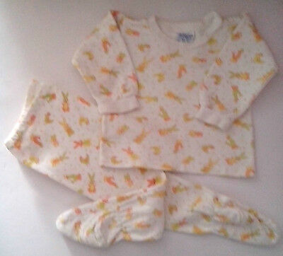 Cotton Pyjamas White with Yellow/Orange pattern of cartoon Rabbit,Cat and ...70s