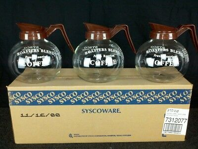 Commercial Coffee Decanters Carafes 10 Cup Glass with Brown Handle NEW Qty 3