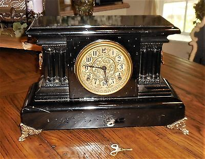 Antique Seth Thomas Adamantine Shelf/Mantle Clock 4 Column Black Wood Case