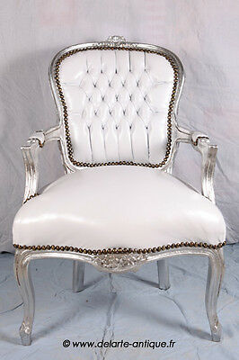 Baroque armchair Louis XV style - white leather look/silver