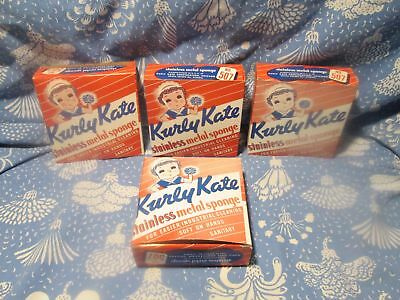 4 Boxes Vintage Old Store Stock Kurly Kate Stainless Metal Sponge #507 Free S/H
