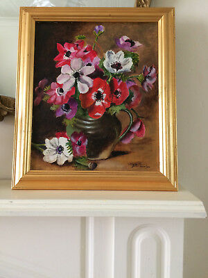 Vintage Original Framed Oil Painting On Board Anemones Floral Still Life Signed