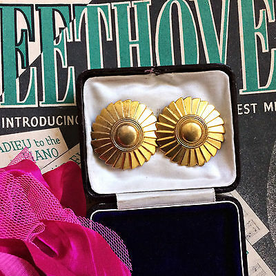 Unusual Antique Art Deco 1920s Egyptian Revival Pair Gold Dress Clips XMAS GIFT