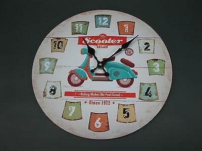 Large Wall Clock 33 cm Nostalgic Clock Antique Style Roller ROCKABILLY scooter