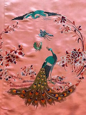 """Antique Chinese Garden Scene Wall Hanging Hand Embroidery On Silk 40""""x40"""""""