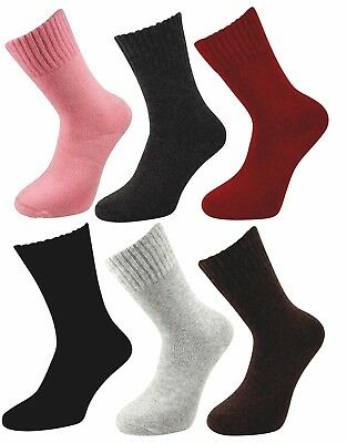 Ladies Merino Lambs Wool Blend Warm 2.4 Tog Thick Crew Socks Thermal (UK 4-8)