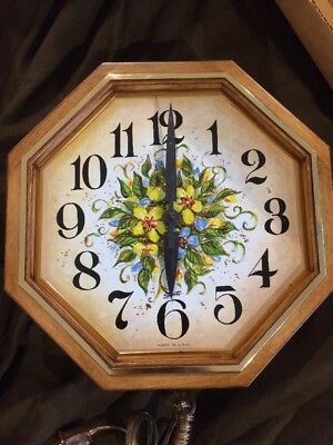Vintage Mid-Century Spartus Wall CLOCK Retro 1960 Floral Embossed Fruitwood New