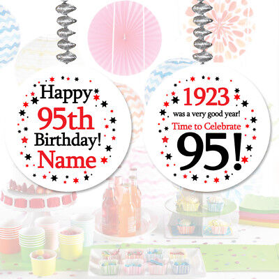 Happy 95th Birthday Age 95 1923 Party PERSONALIZED DANGLER DECORATIONS