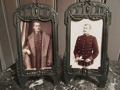 CUTE ! FRENCH ANTIQUE LATE XIX th. C. METAL PAIR OF PICTURE FRAMES SHABBY CHIC