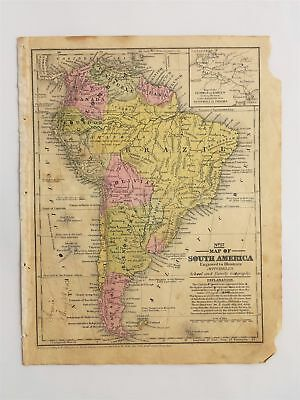 1839 antique MAP of SOUTH AMERICA mitchell's atlas ct SCHOOL FAMILY GEOGRAPHY