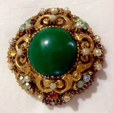 Vintage Gold Antique Tone Signed FLORENZA Faux Pearl and Green Emerald Brooch