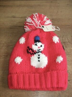 723e9e4eb325ce Brand New With Tags - Next Girls Red Snowman Xmas Woolly Bobble Hat Age 11-