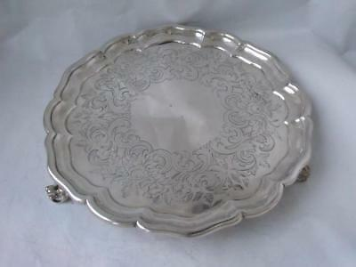 Antique Hand-Engraved Solid Sterling Silver Salver/ Tray 1862/ Dia 21 cm/ 350 g