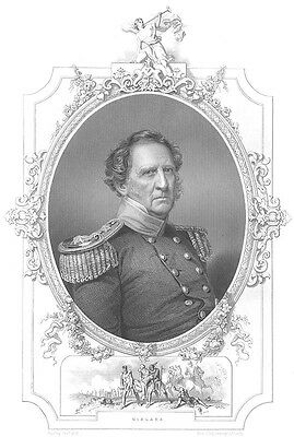 MEXICO MEXICAN AMERICAN WAR General WINFIELD SCOTT ~ 1856 Art Print Engraving