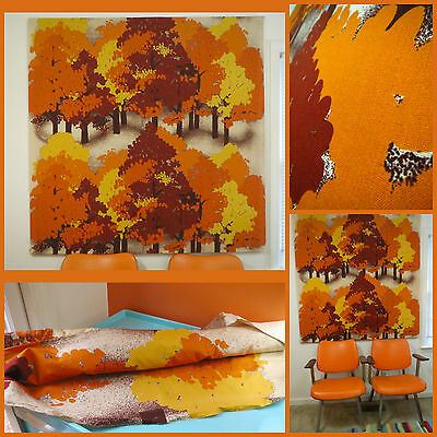 VTG 1970s MID Century Modern Finlayson Finland Orange Trees Fabric Wall Art