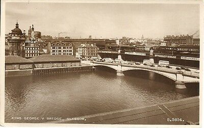 SUPERB OLD POSTCARD - KING GEORGE V BRIDGE - GLASGOW C.1958 Vintage Cars & Buses