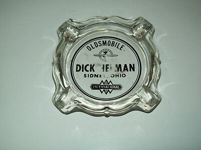 OH IH Truck Oldsmobile Dealer Clear Glass Ashtray Dick Helman Sidney Ohio OH IHC