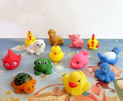13Pcs Soft Rubber Float Sqeeze Sound Baby Wash Bath Play Animals Baby Toys JR