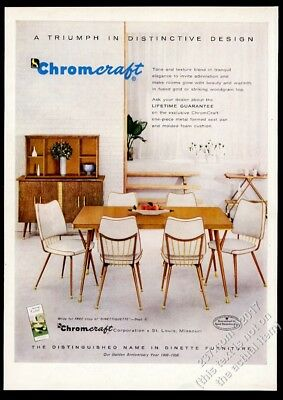 1958 Chromcraft modern dinette table white padded chairs vintage print ad