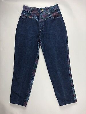 Vintage 80s Chic Denim Floral Print Capri Mom Jeans High Waist Tapered 25x23