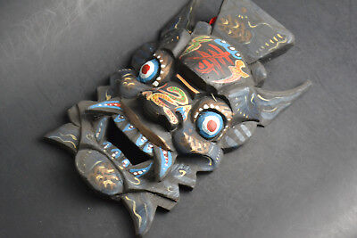 Handwork Collectible Old Wood mask Carve Chinese devil Statue Decor Buddhist