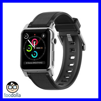 NOMAD Rugged Strap for Apple Watch 42mm, Black Silicone, Silver steel hardware