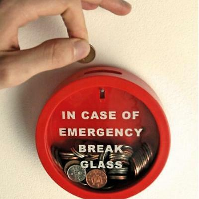 Funny In Case Of Emergency Break Glass Novelty Savings Money Box Coin Piggy Bank