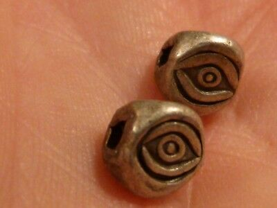 2-Custom Sterling Silver Three Eye Heavy Beads Powerful Eye Presence 7 By 7 Mm