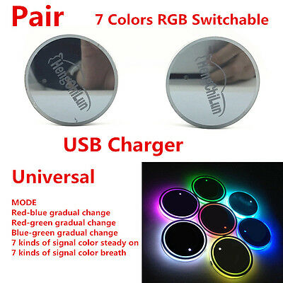 2X (65mm) USB Charge Switchable 7 Colors RGB LED Trim Car Cup Holder Bottom Pad