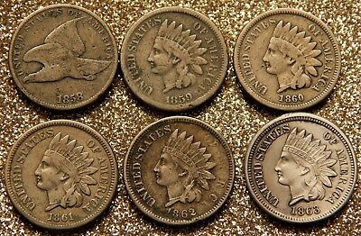 USA One Cent 1858 Flying Eagle,1859,1860,1861,1862,1863 Indian Head