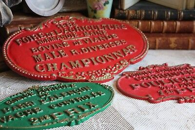 Three Vintage French Metal Agricultural Prize Award Plaques (ref 1)