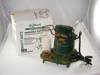 Zoeller Submersible Sump Pump : M53 Mighty Mate Cast Iron, .3Hp, 53-0001, Used