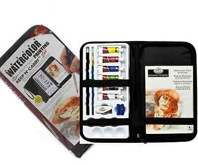 Artist Zip Up Travel Case Watercolour Paint Painting Set Brush & Pad Rset-Kcwp