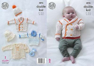 c99ad2ceb Baby Double Knitting Pattern Boys or Girls Jacket Jumper   Hat King Cole DK  4876